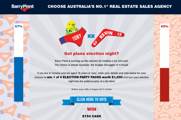 Screenshot of votetowin.com.au
